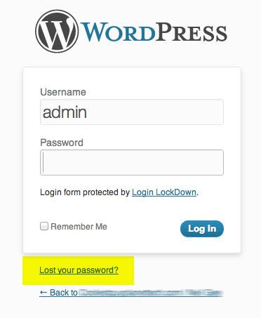 تغییر رمز ورود به وردپرس